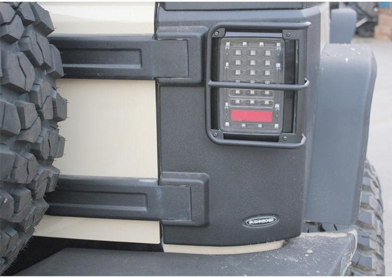 US ライトガード プロテクター ジープラングラーJK 07 +炭素鋼黒のための2個のテールライトガードカバーランプ 2 pcs Tail Light Guard Cover Lamp For Jeep Wrangler JK 07+ carbon steel black