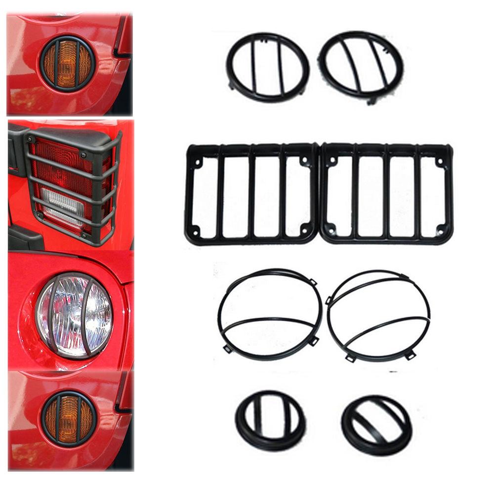US ライトガード プロテクター ジープJKラングラー07-15ヘッドライトテールライトランプガードセットブラック8個 Jeep JK Wrangler 07-15 Complete Headlight Taillight Lamp Guard Set Black 8 Pcs