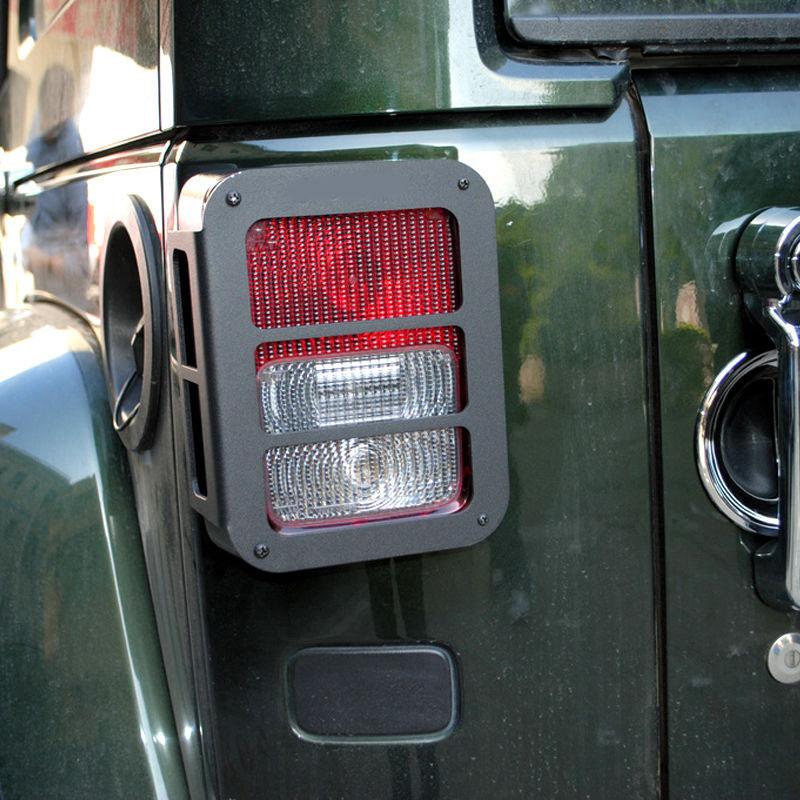 US ライトガード プロテクター ジープラングラーJK 07+のための2倍ステンレスメタルテールライトガードカバーランプ 2x Stainless Metal Tail Light Guard Cover Lamp For Jeep Wrangler JK 07+ black