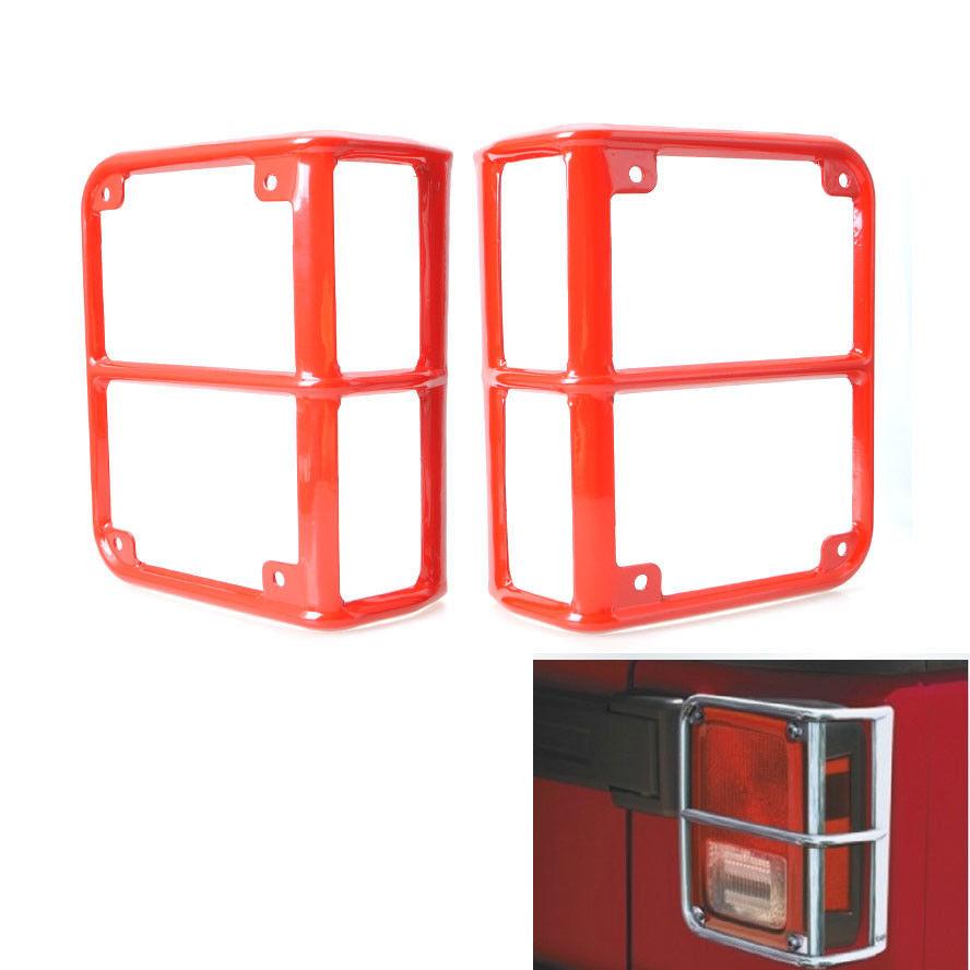 US ライトガード プロテクター 2倍のレッドビレットリアテールライトランプガードは、ラングラーJKメタル用のプロテクターをカバー 2x Red Billet Rear Tail Light Lamp Guards Covers Protector For Wrangler JK Metal