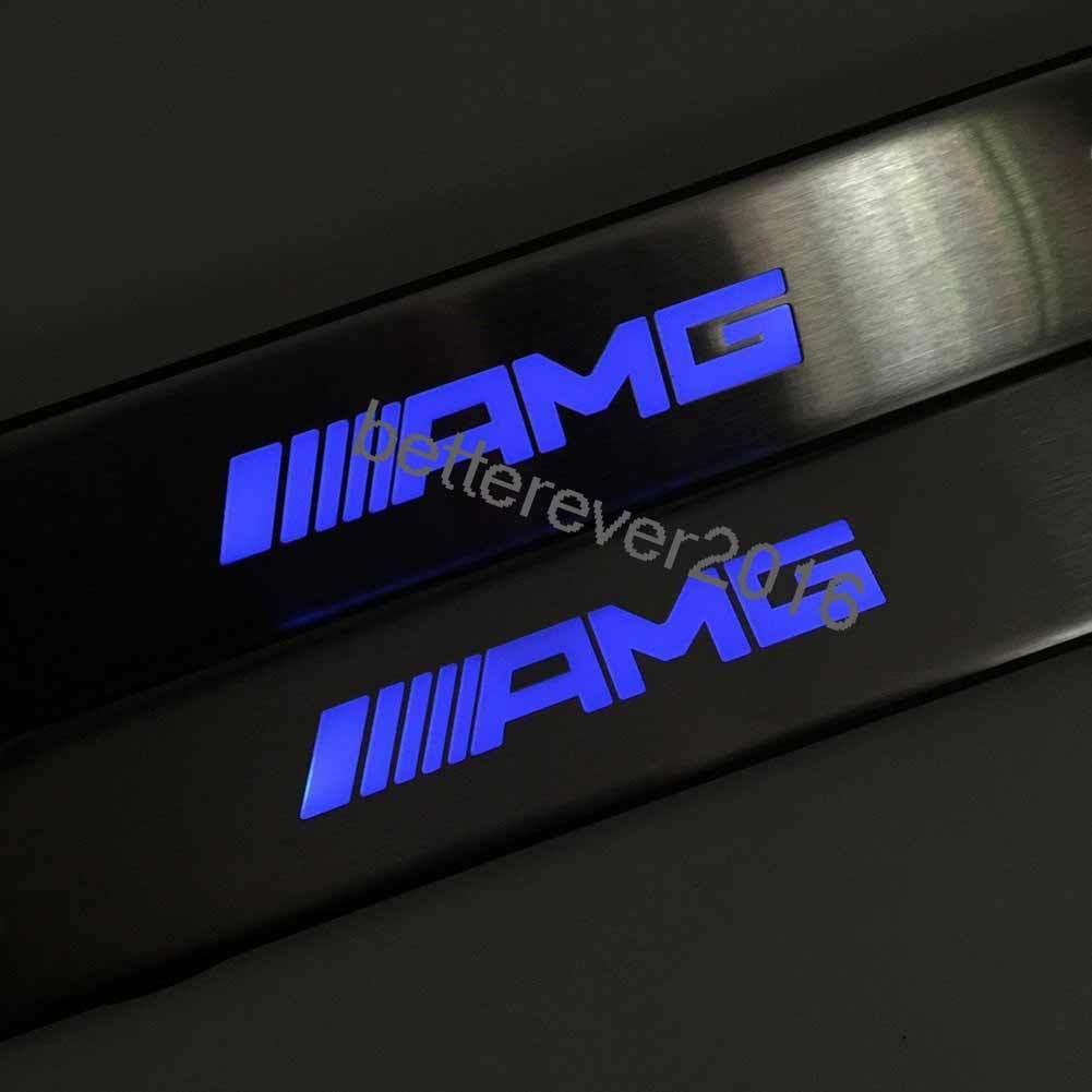US ライトガード プロテクター メルセデス・ベンツAMG W210 W211 W212用ブルーLEDライトドア・サフス・スカッフ・プレート・ガード For Mercedes-Benz AMG W210 W211 W212 Blue LED Light Door Sills Scuff Plate Guard