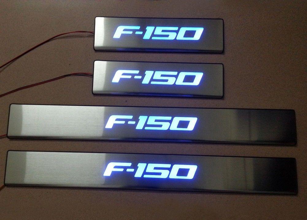 US ライトガード プロテクター ブルーLEDライト4ドアF-150用のステンレスドアシルバープレートガード2009-2014 Blue LED light 4 Door Stainless Door Sills Plate Guard for Ford F-150 2009-2014