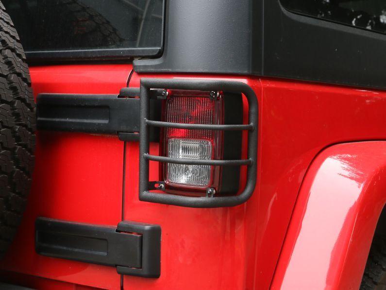US ライトガード プロテクター 2×ブラックラウンドパイプリアテールライトランプガードカバーフィット11-17ジープラングラーJK 2 x Black Round Pipe Rear Tail Light Lamp Guard Cover Fit 11-17 Jeep Wrangler JK