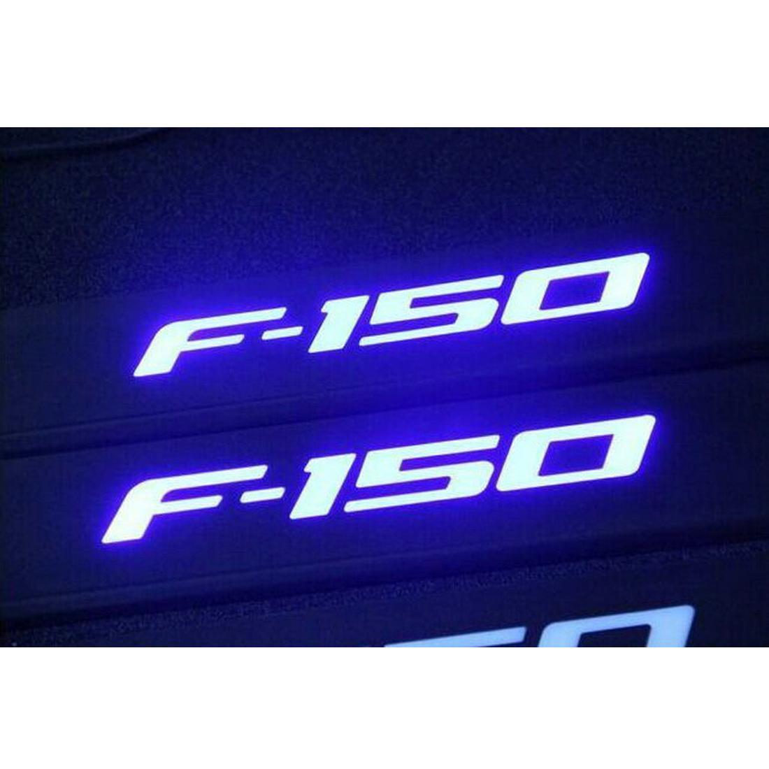US ライトガード プロテクター 09~15フォードF-150 LEDライト4ドアステンレススカーフプレートドアシルバーガードブルー For 09-15 Ford F-150 LED Light 4 Door Stainless Scuff Plate Door Sill Guard Blue