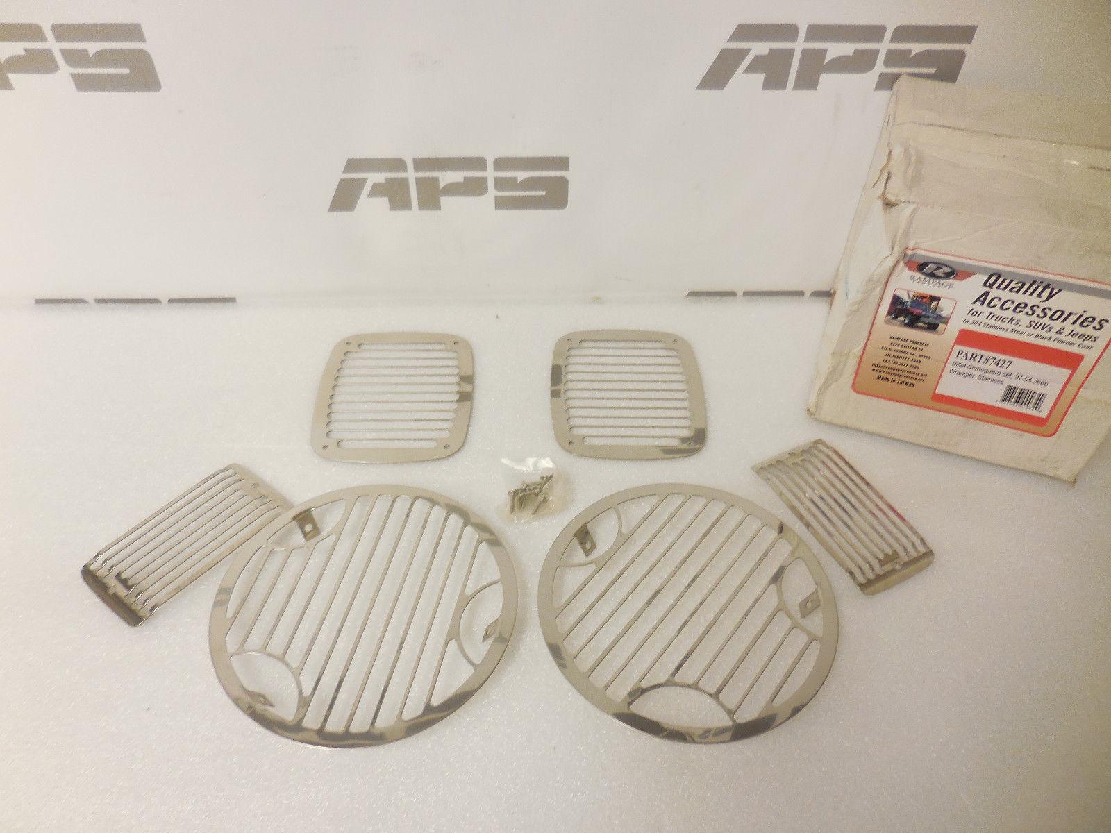 US ライトガード プロテクター New 97-06ジープラングラーTJ 6ピースステンレススチールライトガードキットRampage#7427 New 97-06 Jeep Wrangler TJ 6 piece stainless steel light guard kit Rampage #7427