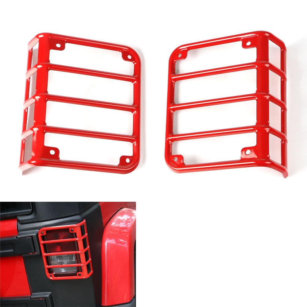 US ライトガード プロテクター 2Pcsメタルリアテールライトランプガードセットジープラングラーのためのカバーフレーム08-2016 2Pcs Metel Rear Tail Light Lamp Guard Set Cover Frame For Jeep Wrangler 08-2016