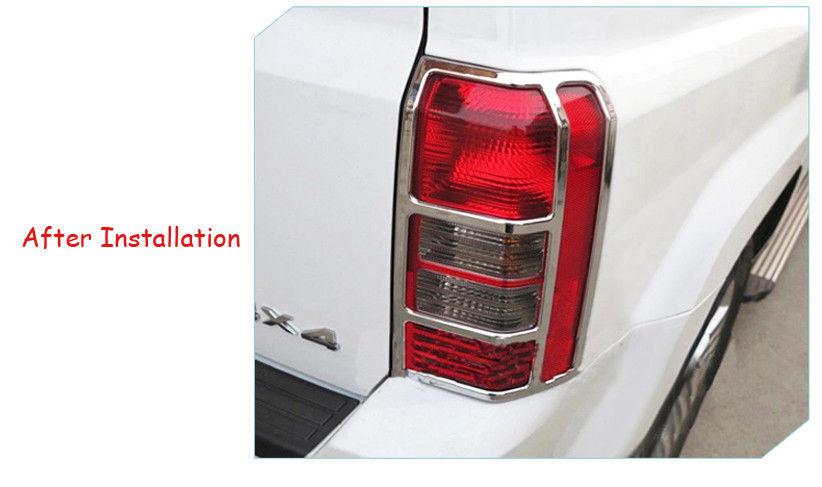 US ライトガード プロテクター ABSクロームリアテールライトランプカバーガードトリムジープパトリオット2011-16 ABS Chrome Rear Back Tail Light Lamp Cover Guard Trim for Jeep Patriot 2011-16