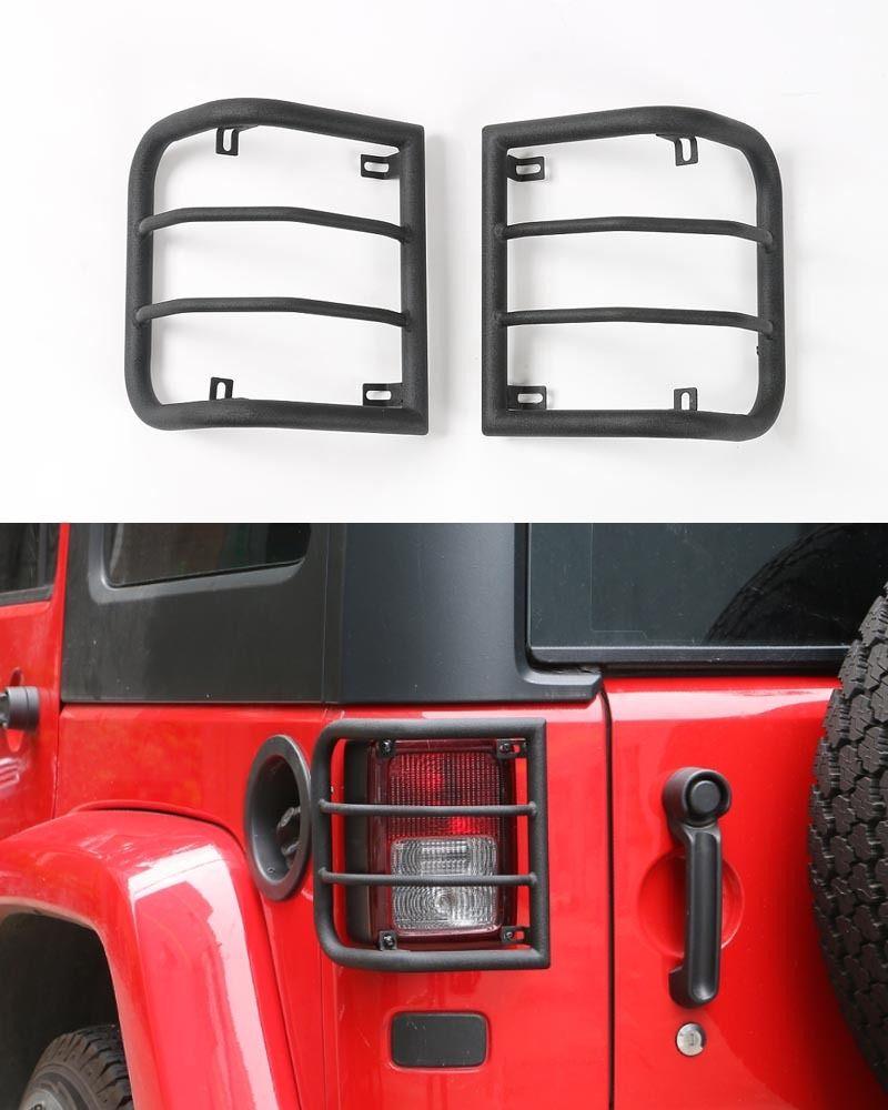 US ライトガード プロテクター ジップラングラーのための2ラウンドパイプリアライトランプガードカバーフレームJK 2011-2017 2×Round Pipe Rear Light Lamp Guard Cover Frame For Jeep Wrangler JK 2011-2017
