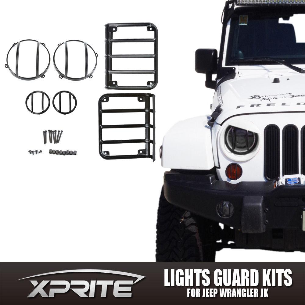US ライトガード プロテクター ガードキットヘッドライトテールライトフロントターンシグナルセットジープラングラー用スチール Guard Kit Head Light Tail Light Front Turn Signal Set Steel for Jeep Wrangler