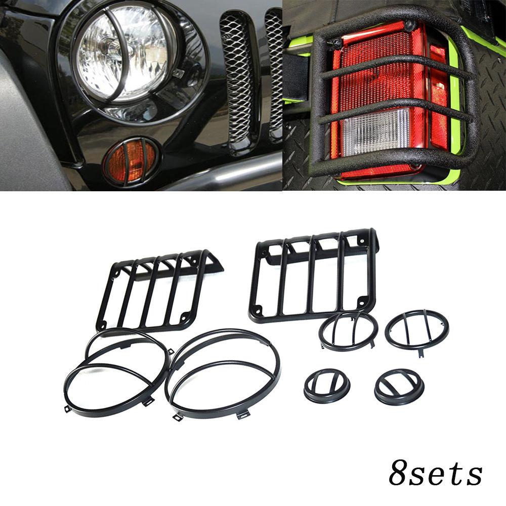 US ライトガード プロテクター 07-16ジープラングラーJKブラックライトガードカバーキット8セットリアフロントヘッドライト 07-16 Jeep Wrangler JK Black Light Guard Covers Kit 8 Sets Rear Front Headlights