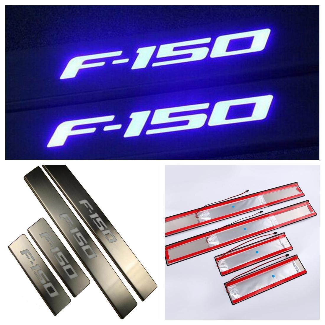 US ライトガード プロテクター フォードF150用4本のLEDライト4ドアステンレススカーフプレートドアシルエントリーガード 4Pcs LED Light 4 Door Stainless Scuff Plate Door Sill Entry Guard For Ford F150