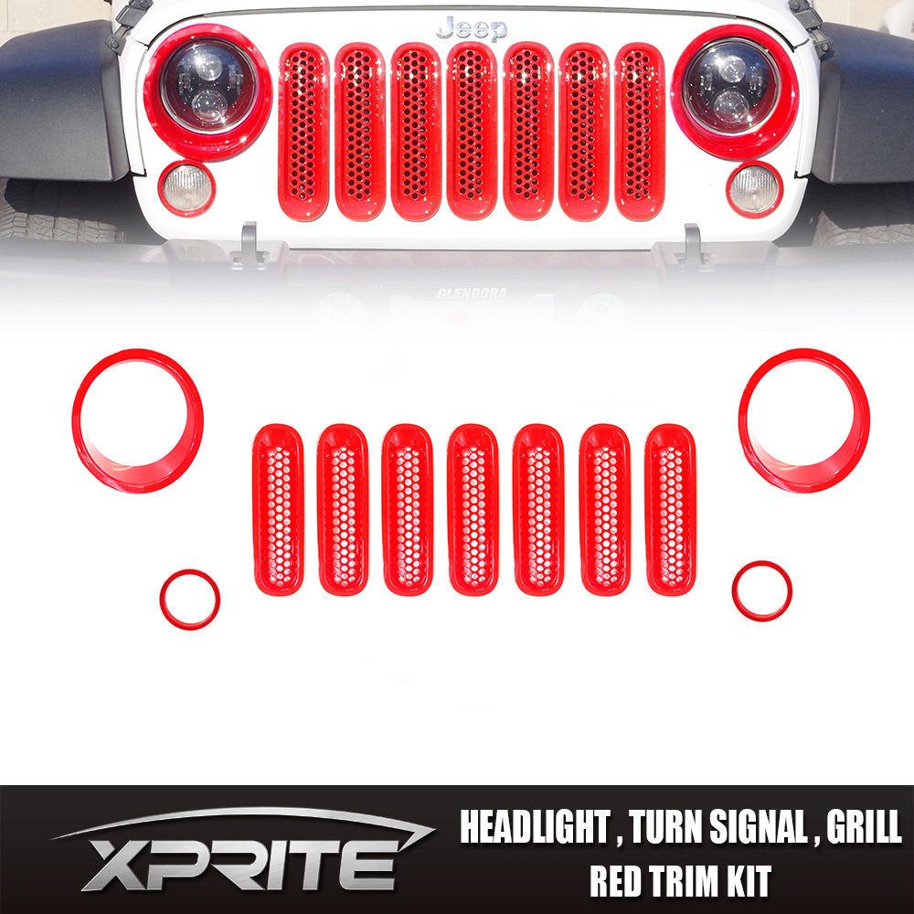 US ライトガード プロテクター レッドグリルメッシュグリルインサートフロントライトカバートリム06-17ジープラングラーJK 11PCS Red Grille Mesh Grill Insert Front Light Cover Trim 06-17 Jeep Wrangler JK 11PCS