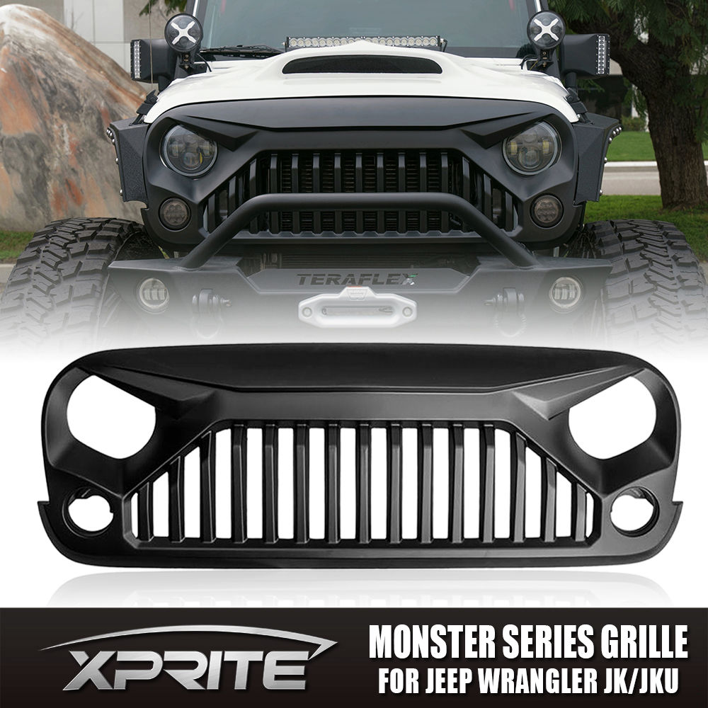USグリル  Xprite Angry Monster Fury 07-17ジープラングラーJK用フロントマットブラックグリル Xprite Angry Monster Fury Front Matte Black Grille for 07-17 Jeep Wrangler JK