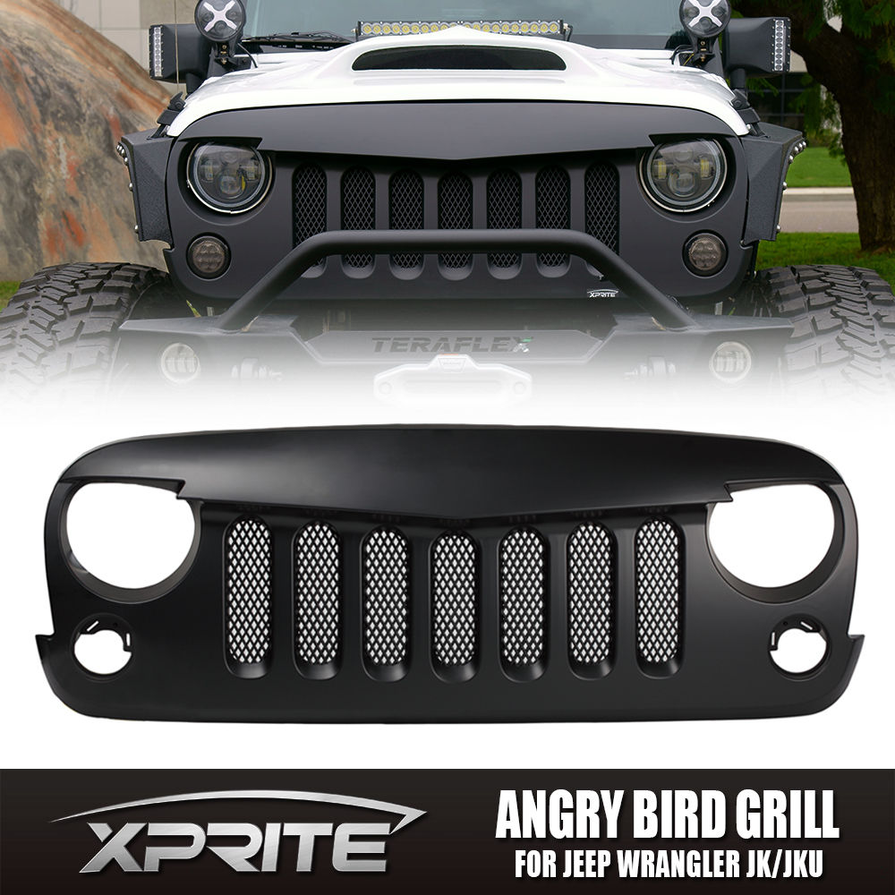 USグリル  怒りのモンスターアイブラックグリル内蔵メッシュ2007-2017ジープJKラングラー Angry Monster Eye Black Grille with Built-In Mesh 2007-2017 Jeep JK Wrangler
