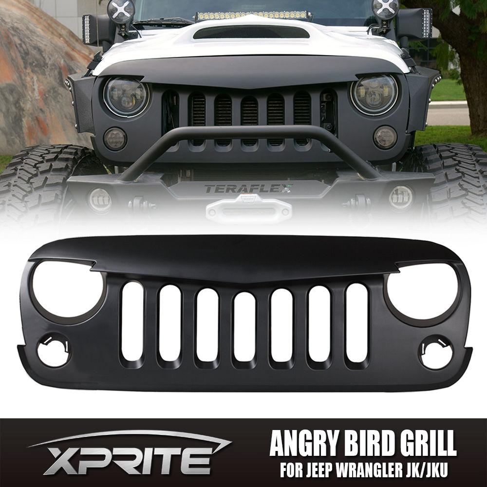 USグリル  フロントマットブラック怒っている鳥グリルグリッドジープラングラースポーツJK 07-17用 Front Matte Black Angry Bird Grille Grid Grill for Jeep Wrangler Sport JK 07-17