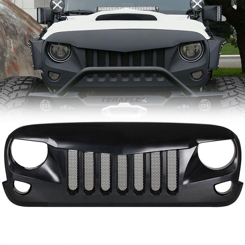 USグリル  黒のカスタムアップグレードAngry Birdsグリル(スチールメッシュ付き)07-17ジープラングラーAO Black Custom Upgrade Angry Birds Grille w/ Steel Mesh for 07-17 Jeep Wrangler AO