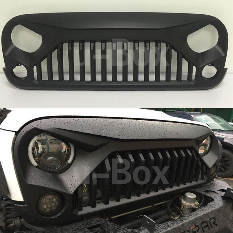 USグリル  マットブラックアングリーバードアップグレードグリルグリルインサート07-16ジープJKラングラー Matte Black Angry Bird Upgrades Grill Grille Insert For 07-16 Jeep JK Wrangler