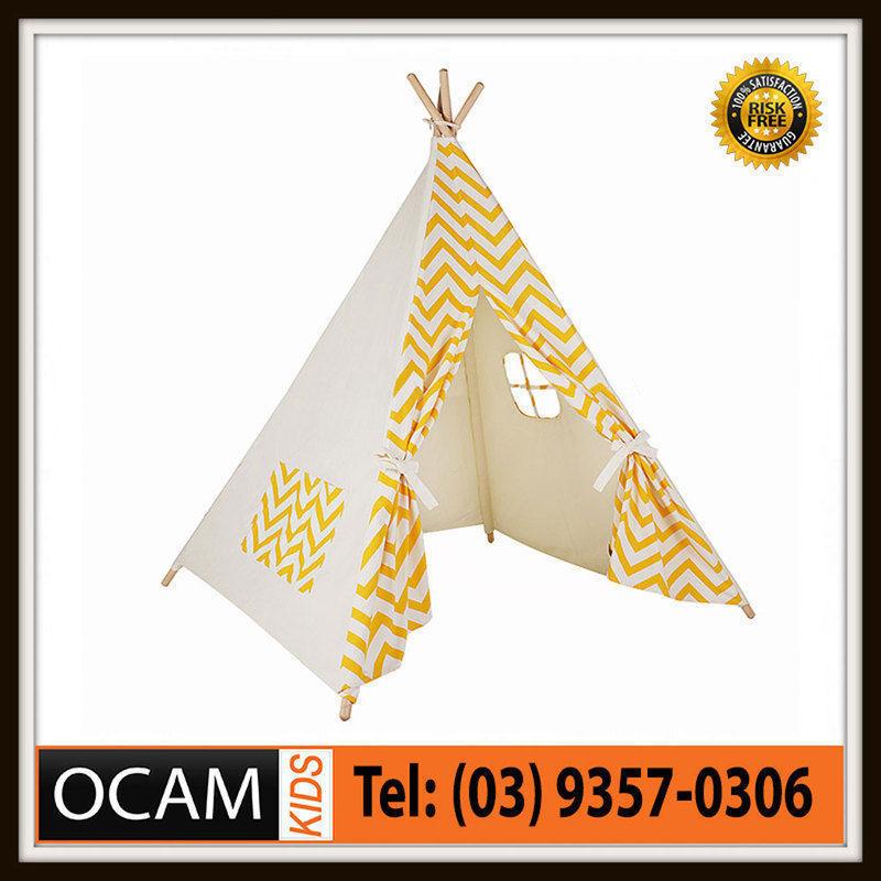 USワイドフェンダー キッズラージシェブロンプリントイエローコットンキャンバステントテイピー屋内アウトドア Kids Large Chevron Print in Yellow Cotton Canvas Play Tent Teepee Indoor Outdoor