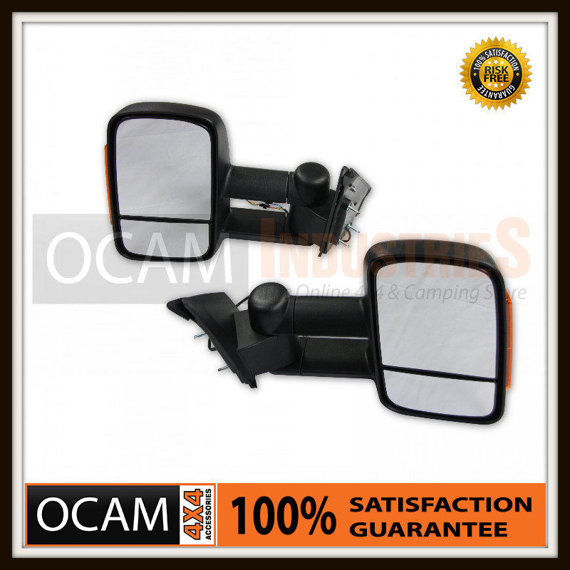 USワイドフェンダー トヨタプラド150シリーズのためのOCAM拡張可能な牽引ミラー、ブラック/オレンジエレク OCAM Extendable Towing Mirrors For Toyota Prado 150 Series, Black / Orange Elec