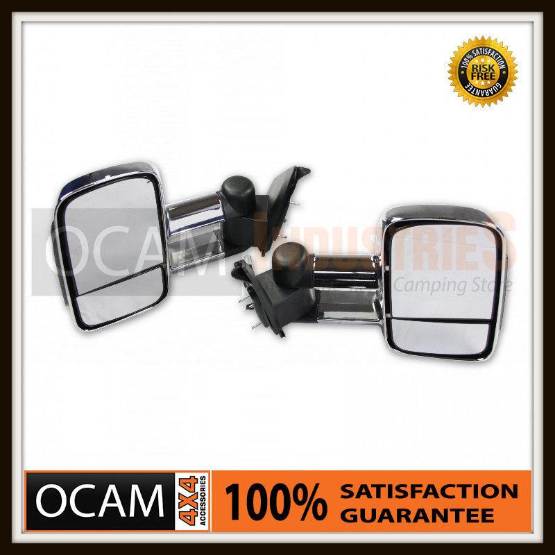USワイドフェンダー OCAMエクステンデッドタワーミラーフォードレンジャークロム/煙、インジケータ、Elec OCAM Extendable Towing Mirrors For Ford Ranger in Chrome/Smoke, Indicators, Elec