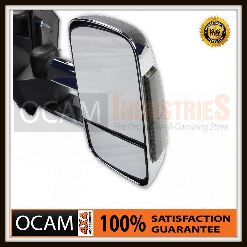 USワイドフェンダー トヨタプラド150シリーズ、クロム/スモークエレクトリック用の拡張可能な牽引ミラー OCAM Extendable Towing Mirrors For Toyota Prado 150 Series, Chrome/Smoke Electri