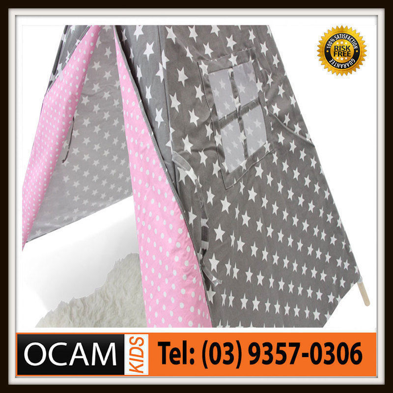 USワイドフェンダー キッズラージキャンバスコットンティピー(グレー& 星印屋内屋外ヒントキーとピンク Kids Large Canvas Cotton Teepee in Grey & Pink With Stars Indoor Outdoor Tipi Ki