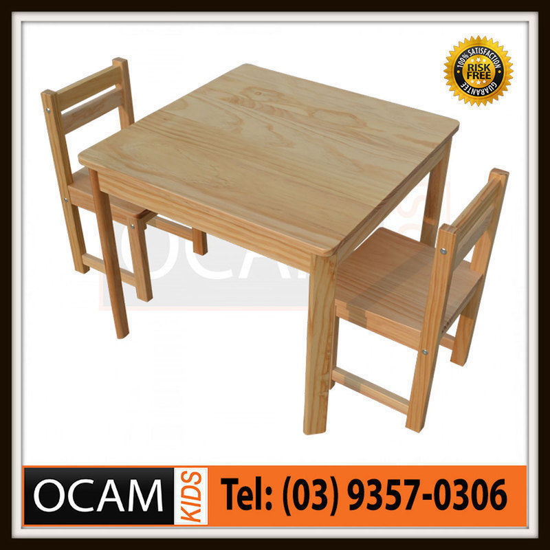 USワイドフェンダー 子供の木のテーブルと椅子の色の設定自然少年ガールズ屋内屋外 Kids Timber Table and Chair Set in Colour Natural Boys Girls Indoor Outdoor