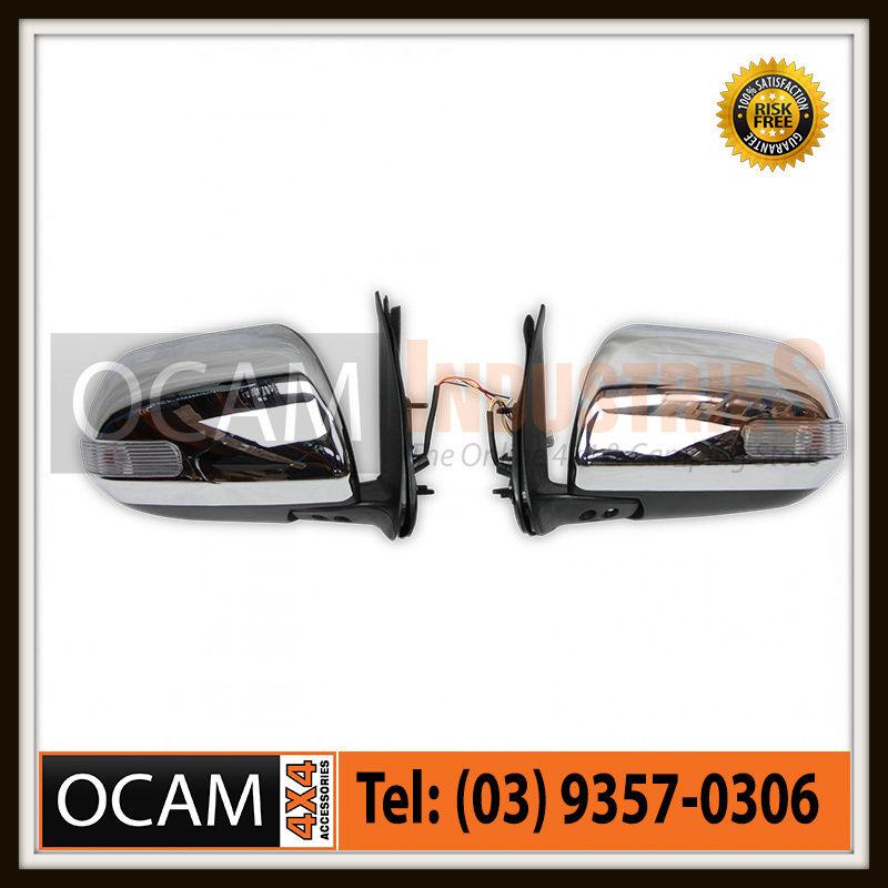 USワイドフェンダー トヨタハイラックス用クロームサイドミラー2011-15 Chrome Side Mirrors For Toyota Hilux 2011-15