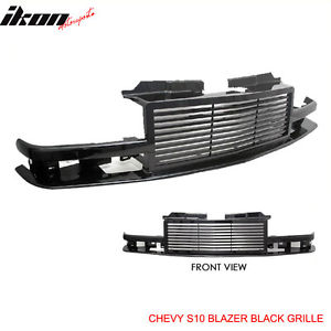 USグリル 98-05シボレーS10ブレザー1PCブラックABSフードグリルビレット 98-05 Chevy S10 Blazer 1PC Black ABS Hood Grille Billet