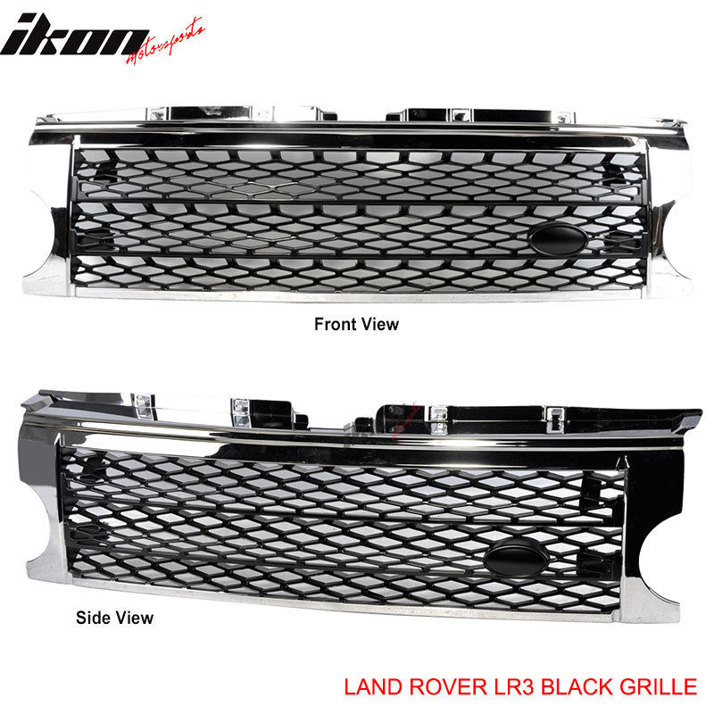 <title>☆送料無料☆USパーツ 海外メーカー輸入品 『1年保証』 USグリル 05-09ランドローバーディスカバリー3クロームブラックグリルグリルLR3 05-09 Land Rover Discovery 3 Chrome Black Grille Grill LR3</title>
