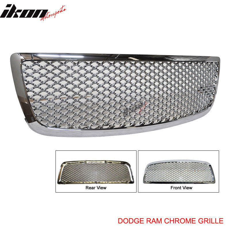 USグリル 09-11 Dodge RamクロームABSクロームメッキフロントフードグリルZ 09-11 Dodge Ram Chrome ABS Chrome Plated Mesh Front Hood Grille Z
