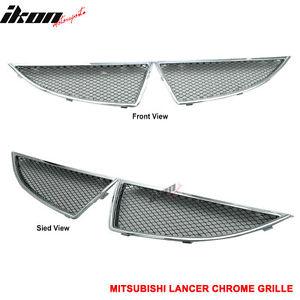 USグリル 04-05三菱ランサーOZクロムメッシュフードグリルABS 04-05 Mitsubishi Lancer OZ Chrome Mesh Hood Grille ABS