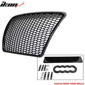 USグリル 05-10アウディA6 C6 RSハニカムメッシュシャイニーブラックABSフロントフードグリルグリル 05-10 Audi A6 C6 RS Honeycomb Mesh Shiny Black ABS Front Hood Grille Grill