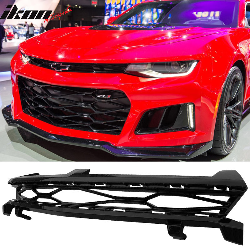 USグリル 16-17シボレーカマロ2Dr ZL1スタイルグロッシーブラックアッパーグリル - ABS For 16-17 Chevy Camaro 2Dr ZL1 Style Glossy Black Upper Grille - ABS