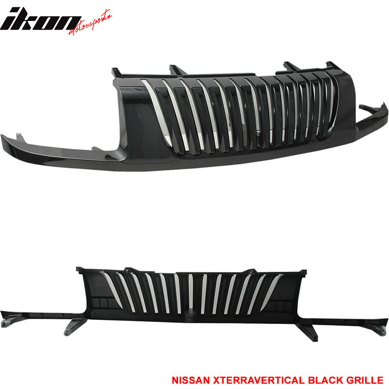 USグリル フィット02-04日産エクテラ縦型フロントバンパーブラックフードグリルABS Fit For 02-04 Nissan Xterra Vertical Front Bumper Black Hood Grille ABS