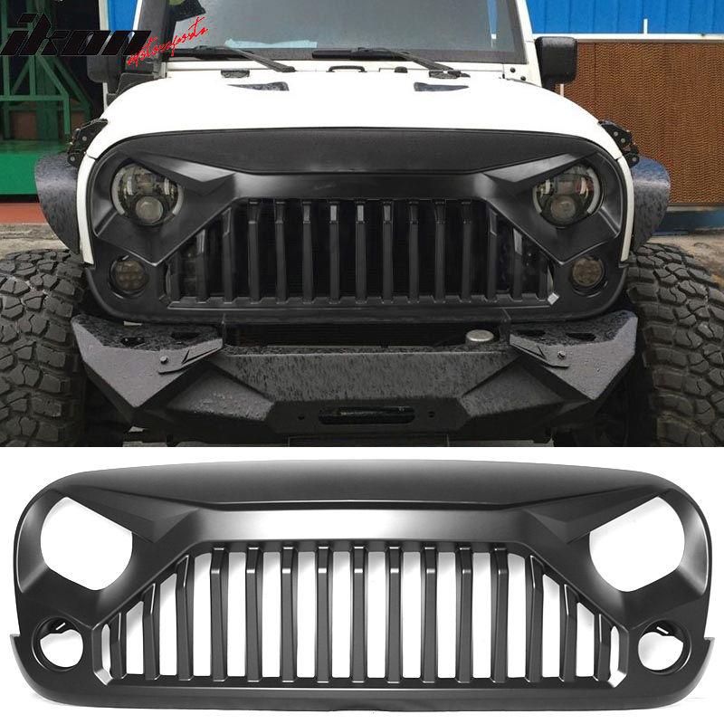 USグリル 07-17ジープラングラーJK V2スタイルトップファイアモンスターフューリーフロントフードグリル - PP 07-17 Jeep Wrangler JK V2 Style Topfire Monster Fury Front Hood Grille - PP