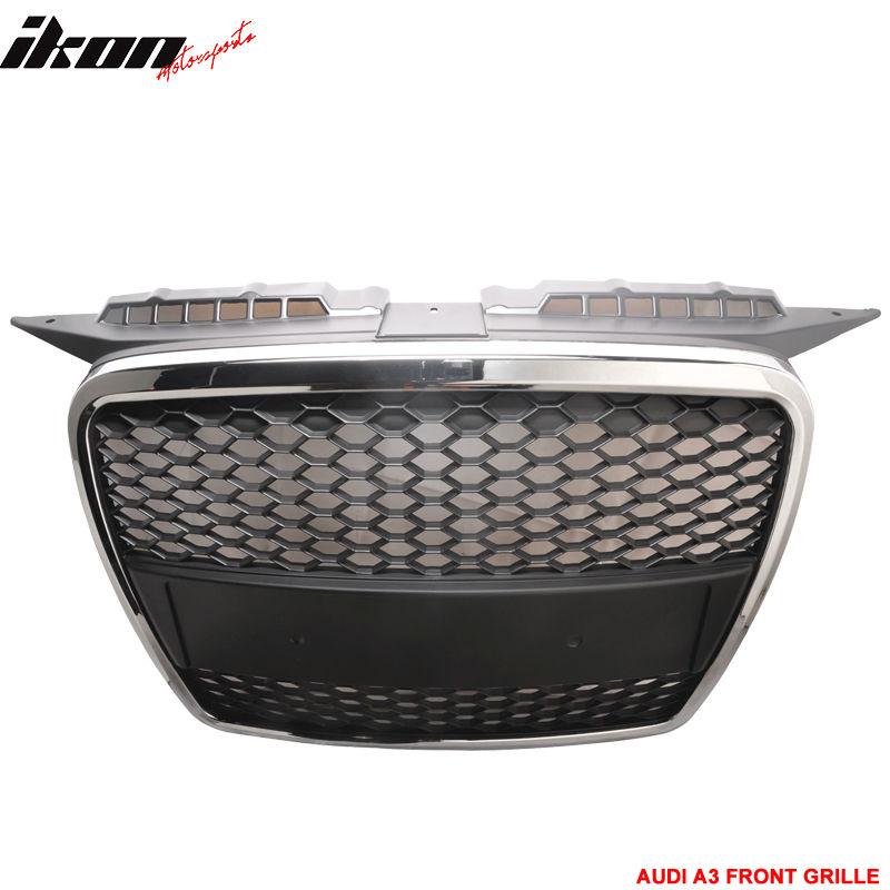 USグリル 06-08アウディA3 RSフロントメッシュフードグリルグリルクローム 06-08 Audi A3 RS Front Mesh Hood Grille Grill Chrome