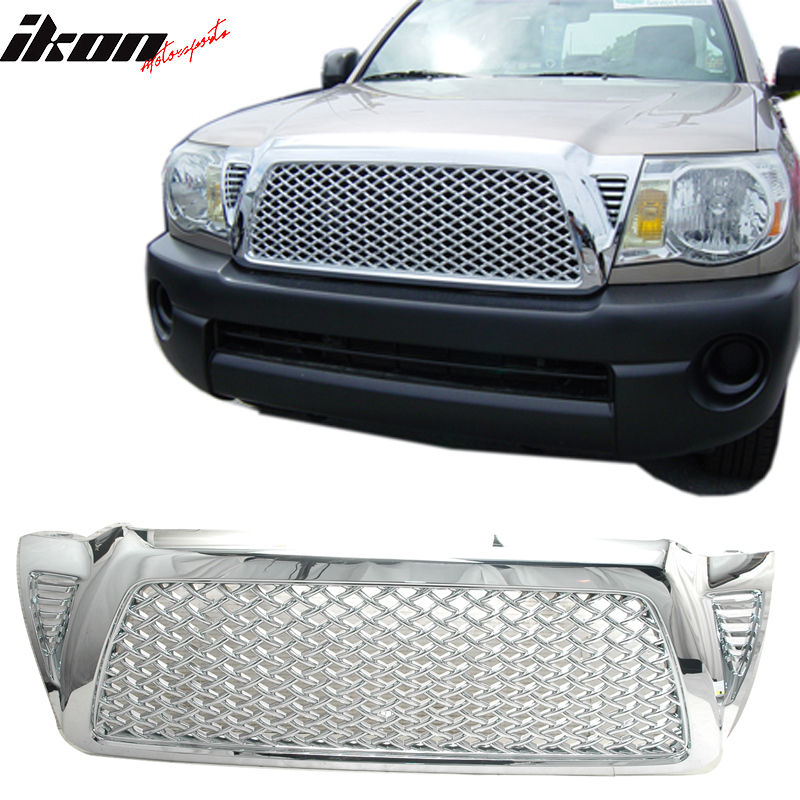 USグリル 05-10トヨタタコマクロム交換フロントフードバンパーメッシュグリルグリルABS 05-10 Toyota Tacoma Chrome Replacement Front Hood Bumper Mesh Grill Grille ABS
