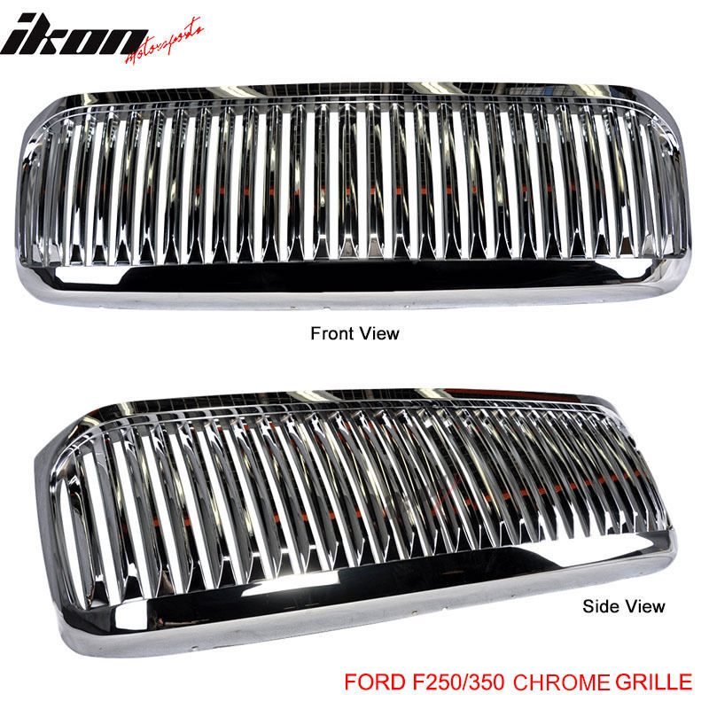 USグリル 99-04 Ford F250 F350エクスカーションVertical Grille Chrome 99-04 Ford F250 F350 Excursion Vertical Grille Chrome