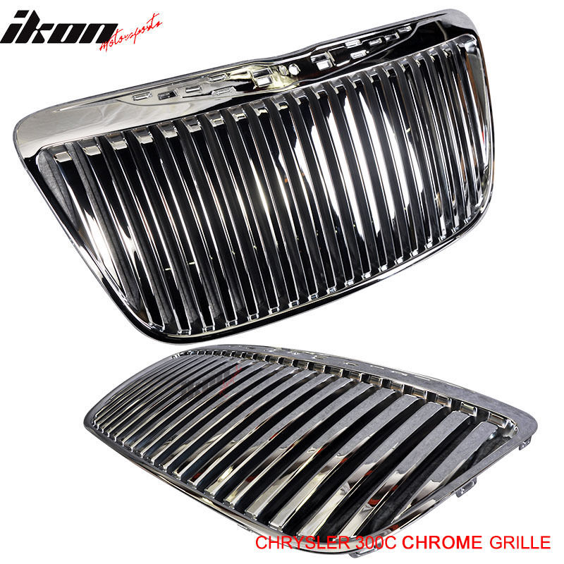 USグリル 11-12 Chrysler 300C用垂直置きグリルフロントグリルクローム For 11-12 Chrysler 300C Vertical Replacement Grill Front Grille Chrome