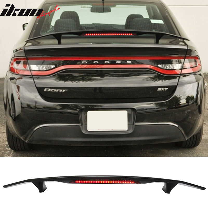 USスポイラー 13-16ダッジダートセダン4Drトランクスポイラーウィング& LEDライト - Glossy Black ABS 13-16 Dodge Dart Sedan 4Dr Trunk Spoiler Wing & LED Light - Glossy Black ABS