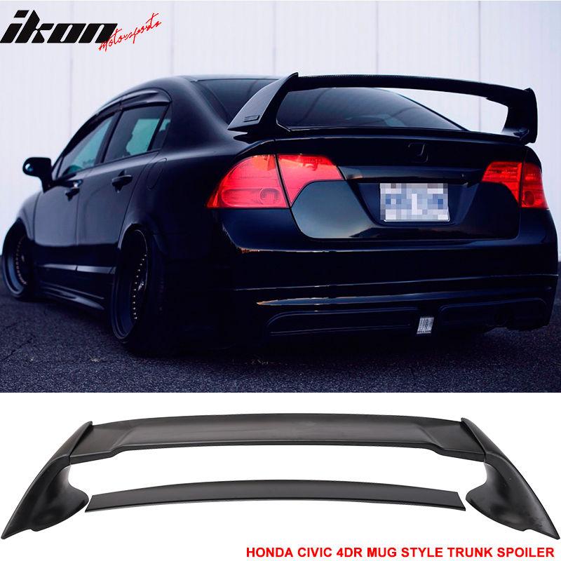 USスポイラー 06-11ホンダシビック4Drリアトランク・スポイラー・ウィング(ABS)ムゲンスタイル 06-11 Honda Civic 4Dr Rear Trunk Spoiler Wing (ABS) Mugen Style