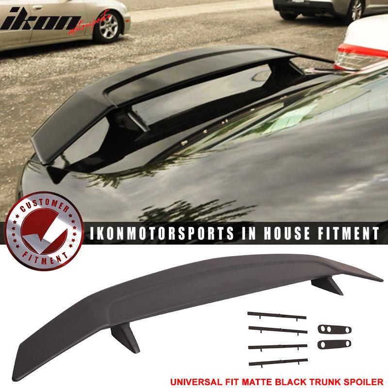USスポイラー 2ポストユニバーサルマットブラックトランクスポイラーウィング - ABS Fit For 2 Post Universal Matte Black Trunk Spoiler Wing - ABS