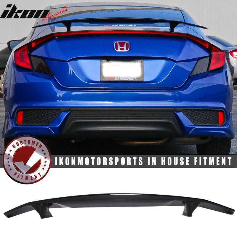 USスポイラー 16-17ホンダシビックXクーペ2DrイコンタイプトランクスポイラーSiスポーツグロスブラック 16-17 Honda Civic X Coupe 2Dr Ikon Type A Trunk Spoiler Si Sport Glossy Black