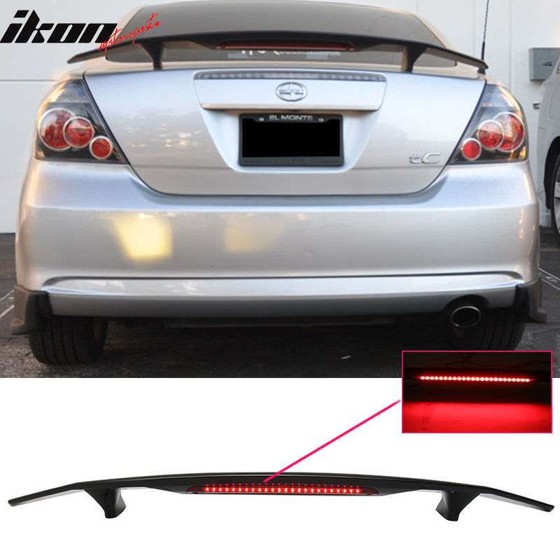 USスポイラー 05-10シオンtCクーペ2Drトランクスポイラーウイング& LEDライト - Glossy Black ABS 05-10 Scion tC Coupe 2Dr Trunk Spoiler Wing & LED Light - Glossy Black ABS