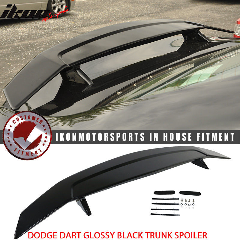 USスポイラー フィット13-16ダッジダーツ2ポストグロスブラックトランクスポイラーウィング - ABS Fits 13-16 Dodge Dart 2 Post Glossy Black Trunk Spoiler Wing - ABS