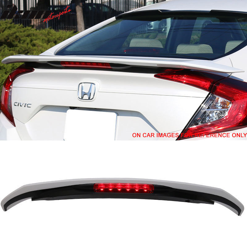 USスポイラー 16-17シビックX RSスタイルスタイルトランクスポイラー3RD LED#NH788Pホワイトオーキッドパール 16-17 Civic X RS SI Style Trunk Spoiler 3RD LED #NH788P White Orchid Pearl