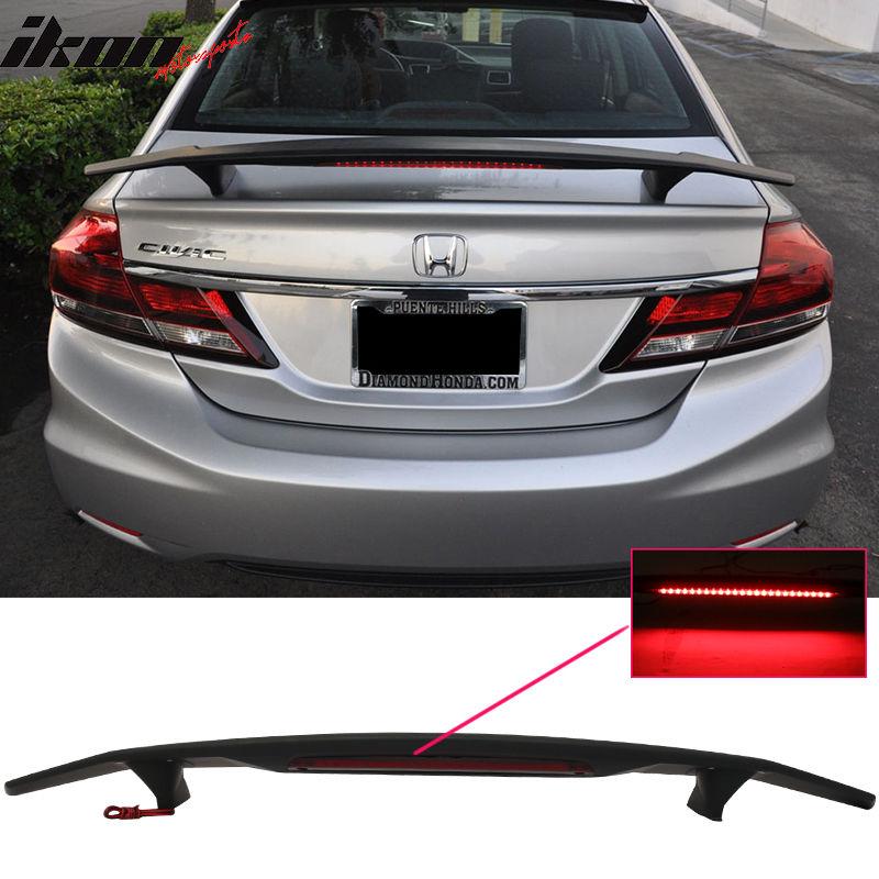 USスポイラー 13-15ホンダシビックセダン4Drトランクスポイラーウイング& LEDライト - マットブラックABS 13-15 Honda Civic Sedan 4Dr Trunk Spoiler Wing & LED Light - Matte Black ABS