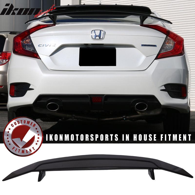 USスポイラー 16-17ホンダシビックXセダン4DrイコンタイプトランクスポイラーSiスポーツグロッシーブラック 16-17 Honda Civic X Sedan 4Dr Ikon Type A Trunk Spoiler Si Sport Glossy Black