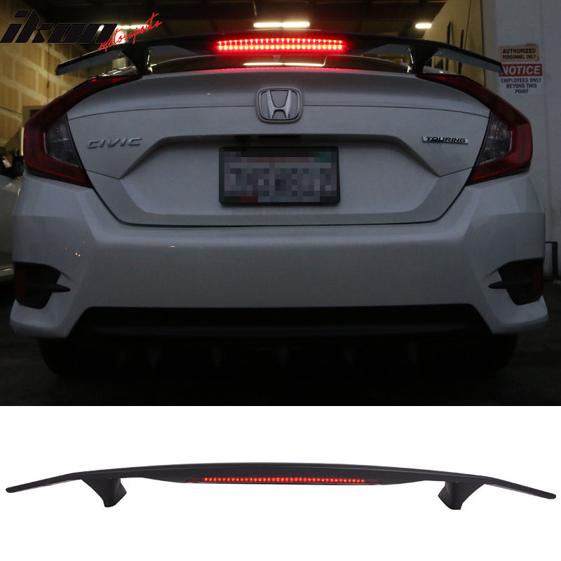 USスポイラー 16-17ホンダシビックセダン4DrトランクスポイラーSi Sport Wing& LED - マットブラックABS 16-17 Honda Civic Sedan 4Dr Trunk Spoiler Si Sport Wing & LED - Matte Black ABS